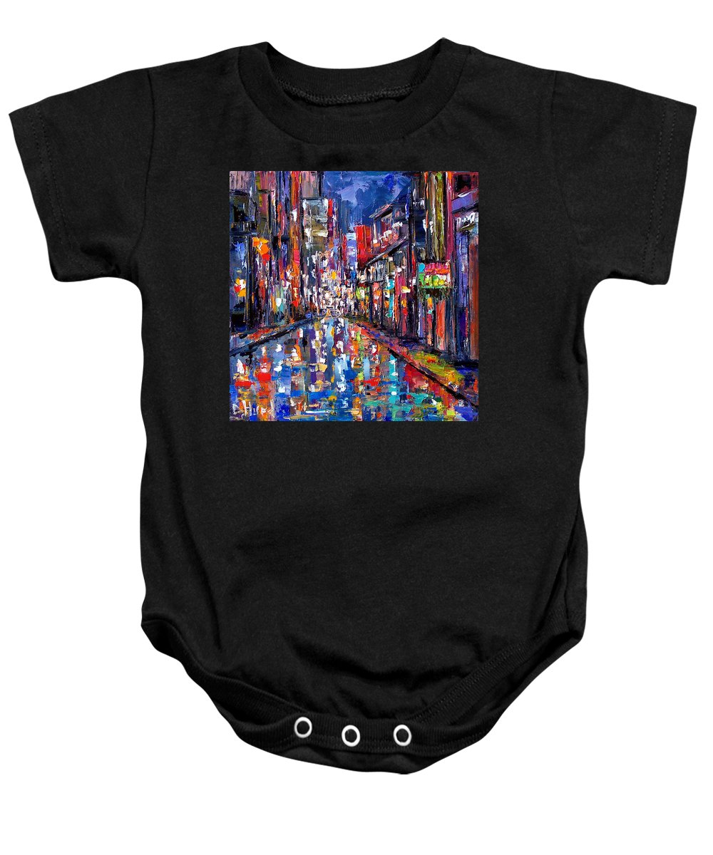 New Orleans Baby Onesie featuring the painting Bourbon Street by Debra Hurd