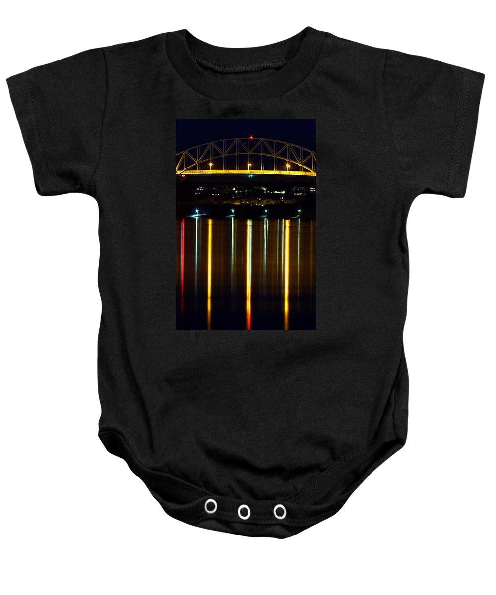 Bourne Bridge Baby Onesie featuring the photograph Bourne Bridge At Night Cape Cod by Matt Suess
