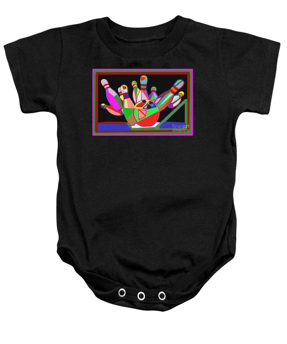 Bowling Baby Onesie featuring the painting Bowling Sports Fans Decoration Acrylic Fineart By Navinjoshi At Fineartamerica.com Down Load Jpg F by Navin Joshi