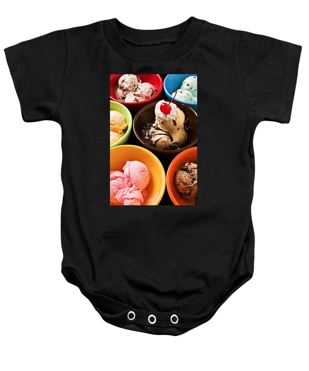 Ice Baby Onesie featuring the photograph Bowls Of Different Flavor Ice Creams by Garry Gay