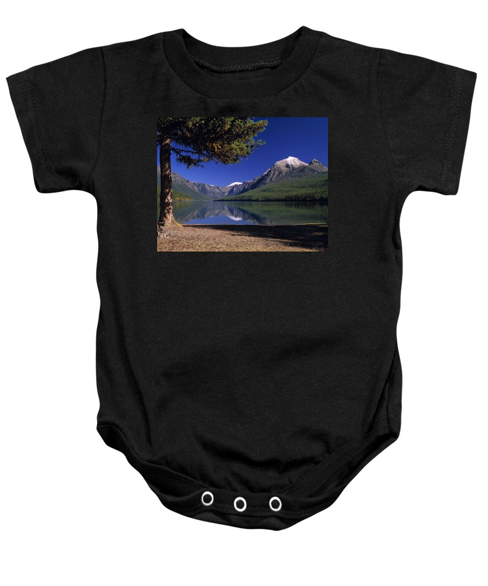 Bowman Lake Baby Onesie featuring the photograph Bowman Lake by Leland D Howard