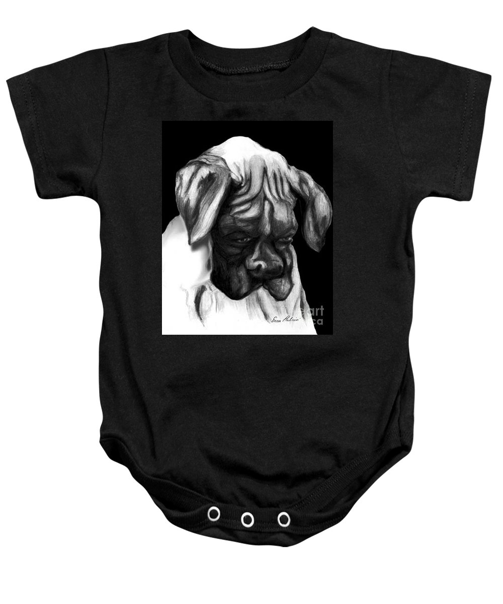 Animals Baby Onesie featuring the painting Boxer Puppy by Portraits By NC