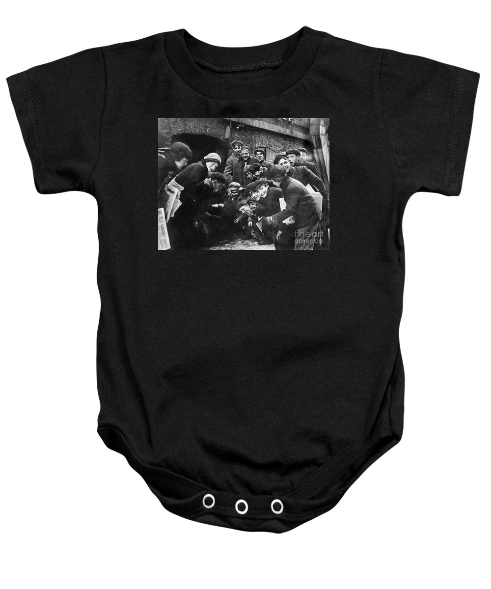 1910 Baby Onesie featuring the photograph Boys Shooting Craps, C1910 by Granger