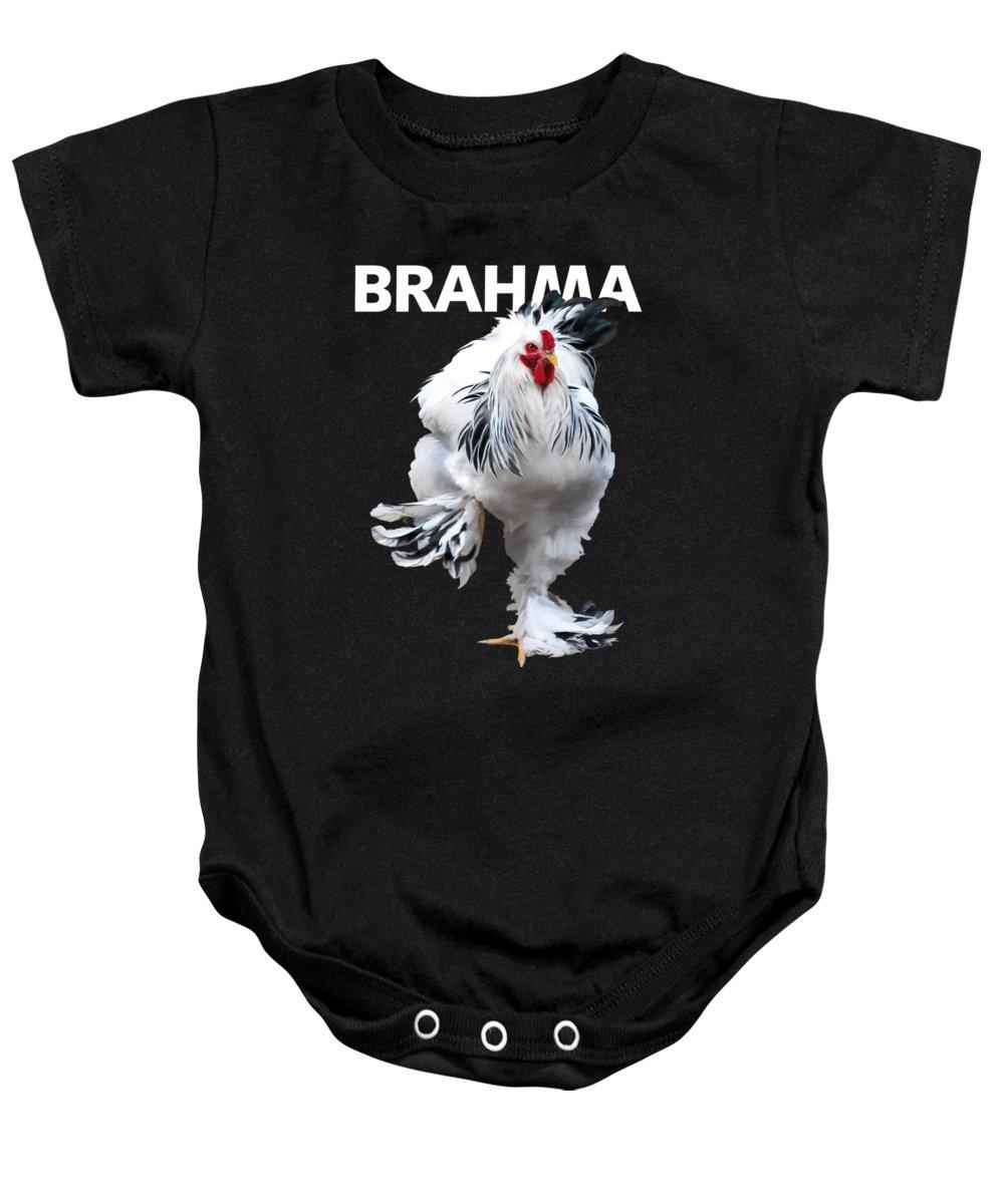 Brahma Baby Onesie featuring the digital art Brahma Breeders Rock T-shirt Print by Sigrid Van Dort