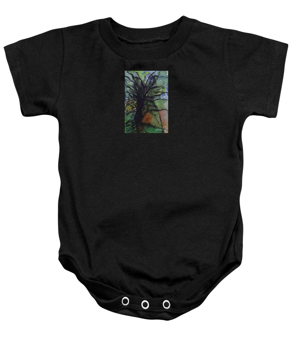 Tree Landscape Abstract Watercolor Original Blue Green Baby Onesie featuring the painting Branching by Leila Atkinson