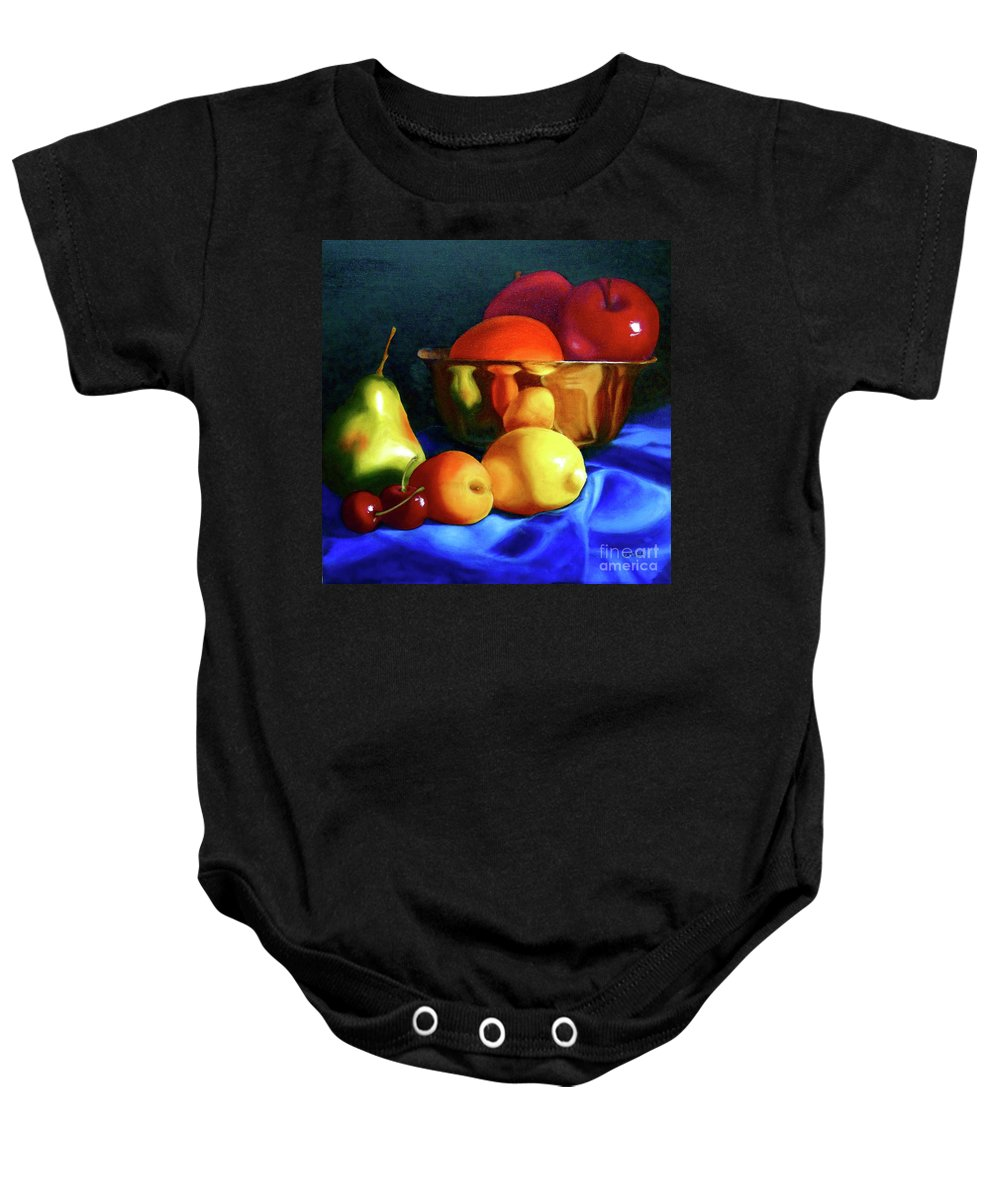 Still Llife Baby Onesie featuring the painting Brass Ensemble by Susan A Becker