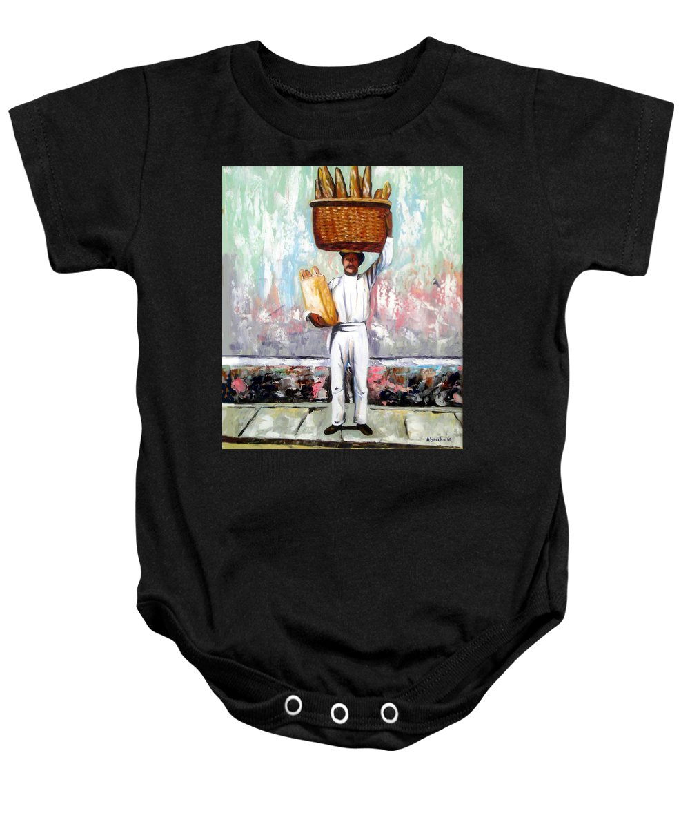 Bread Baby Onesie featuring the painting Breadman by Jose Manuel Abraham