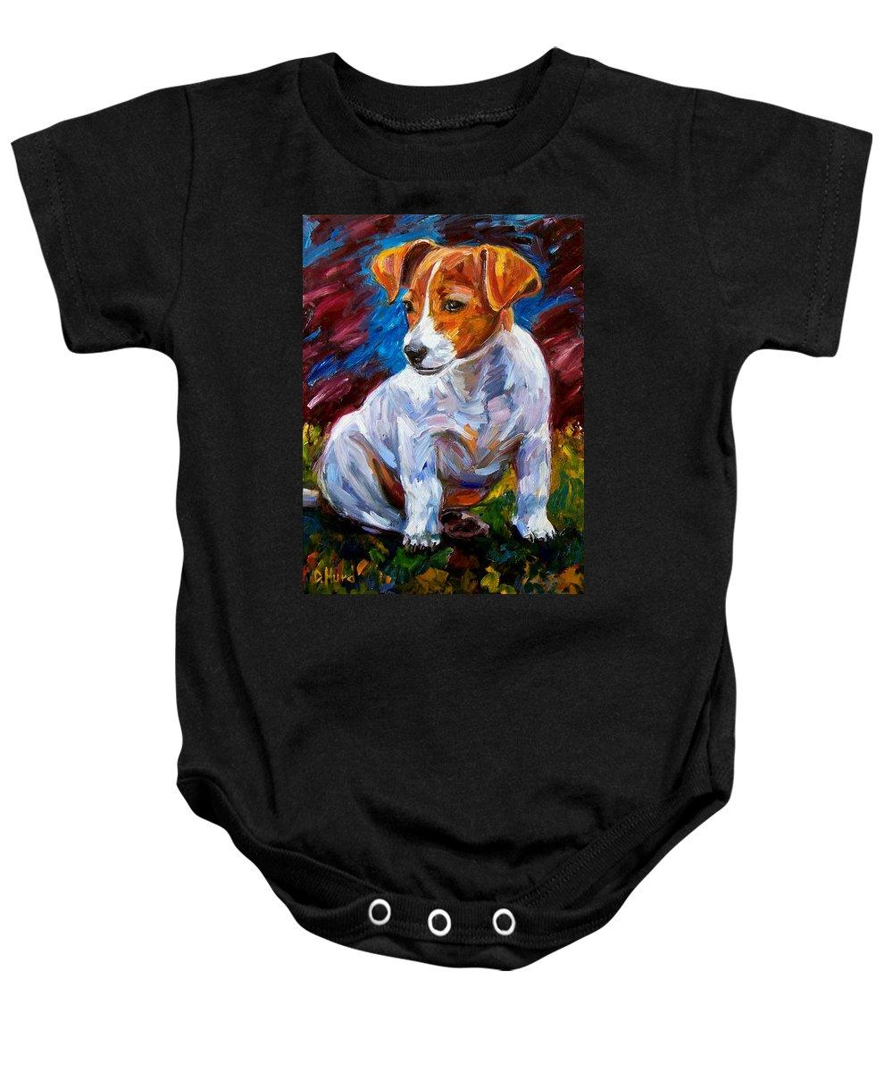 Dog Art Baby Onesie featuring the painting Break Time by Debra Hurd