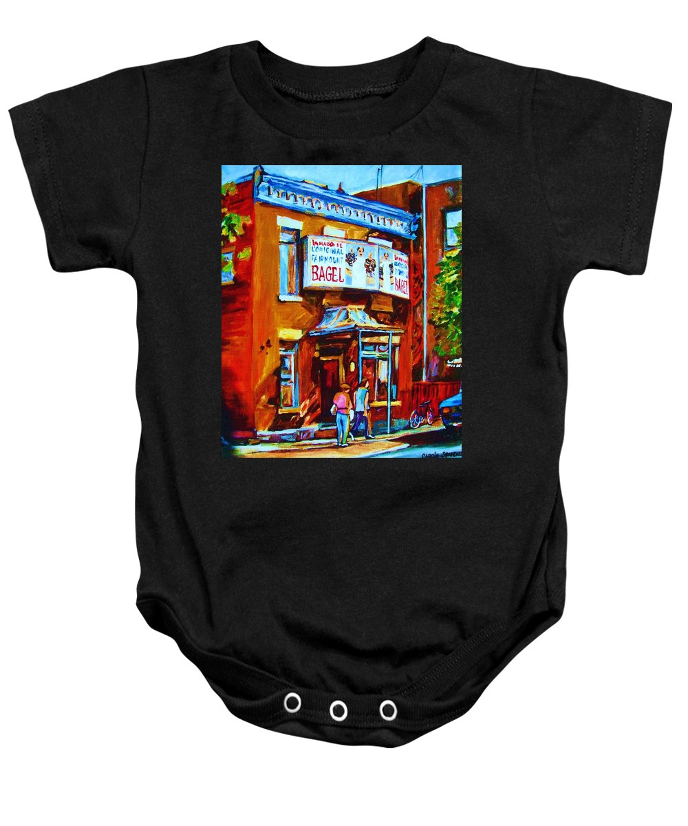Fairmount Bagel Baby Onesie featuring the painting Breakfast At The Bagel Cafe by Carole Spandau