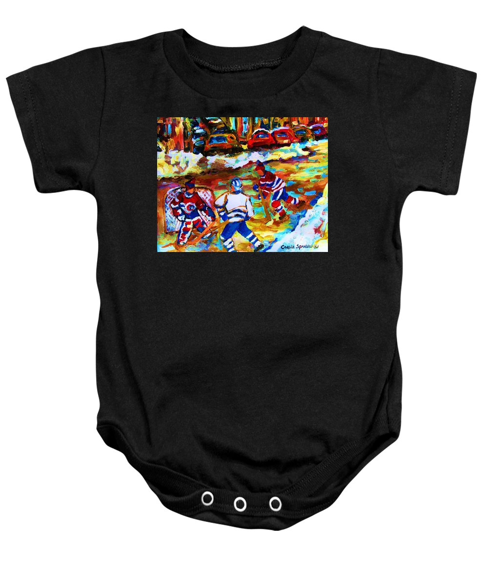 Streethockey Baby Onesie featuring the painting Breaking The Ice by Carole Spandau