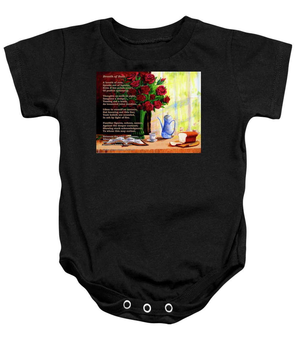 Roses Baby Onesie featuring the mixed media Breath Of Rose by Walter Idema