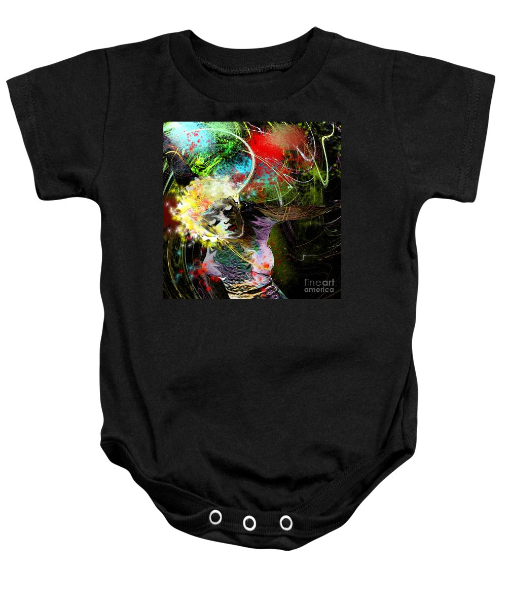 Fantasy Baby Onesie featuring the painting Bride Of Halos by Miki De Goodaboom