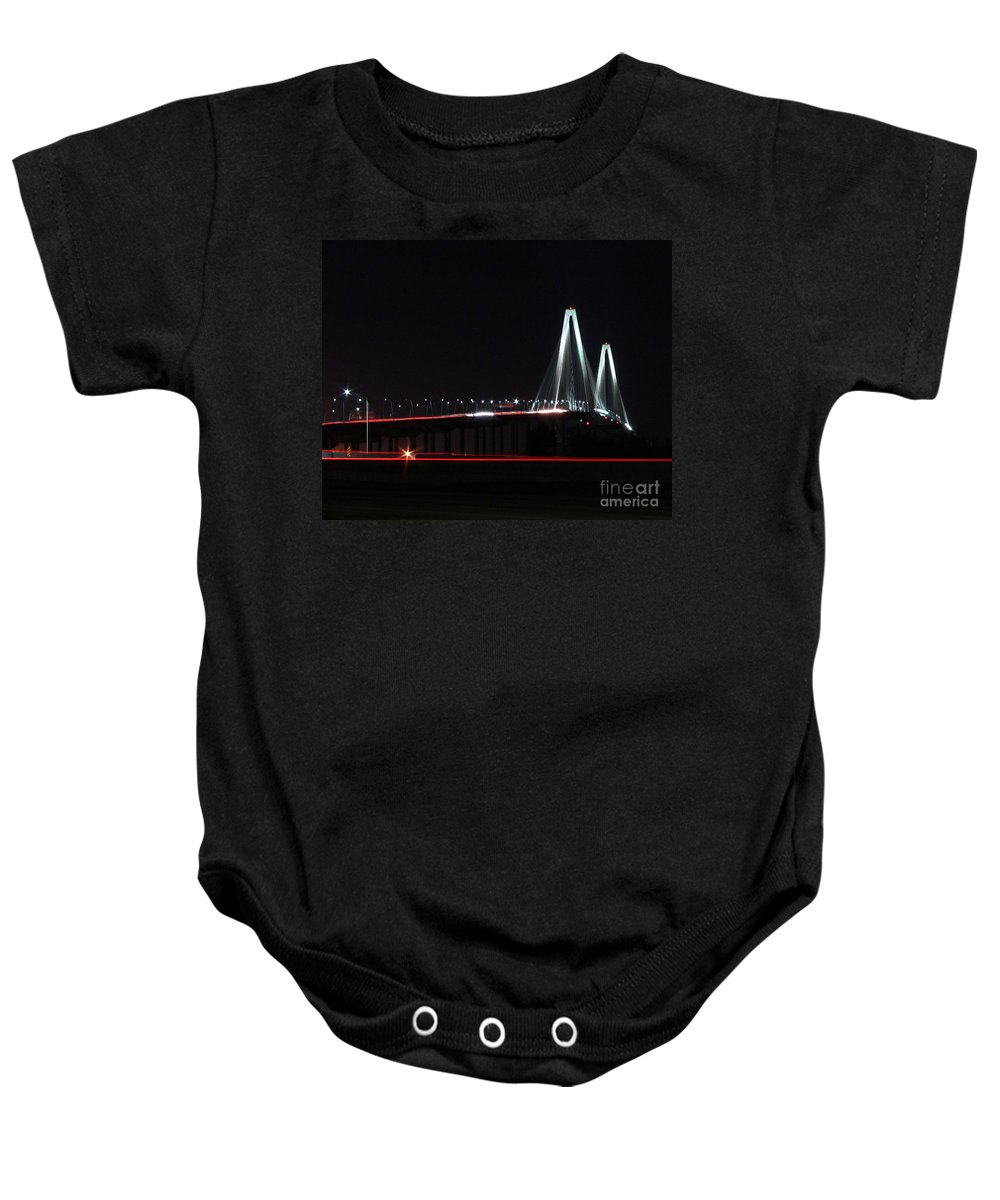 Arthur Ravenel Bridge Baby Onesie featuring the photograph Bridge Blur by Al Powell Photography USA