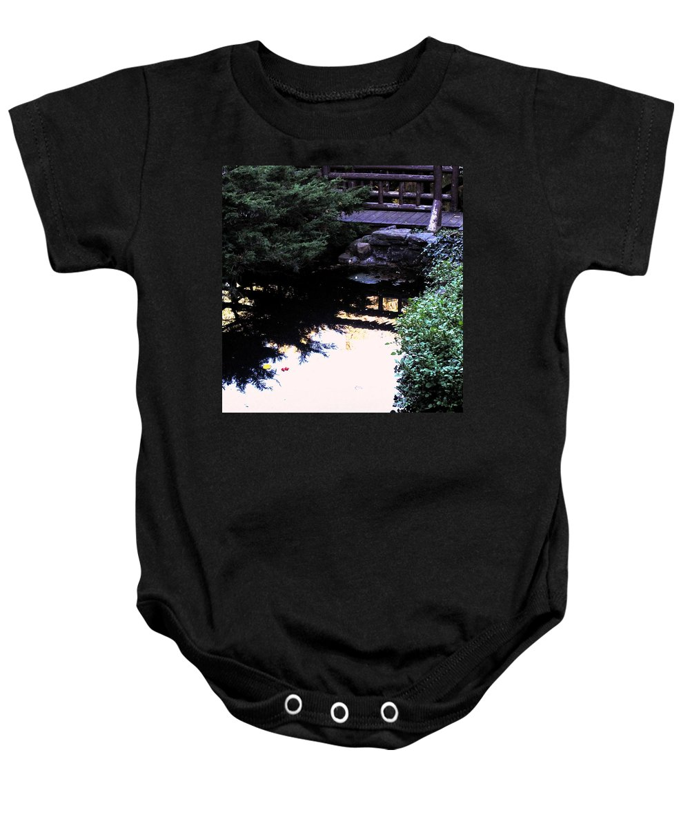 Bridge Baby Onesie featuring the photograph Bridge O Ver Still Water by Ian MacDonald
