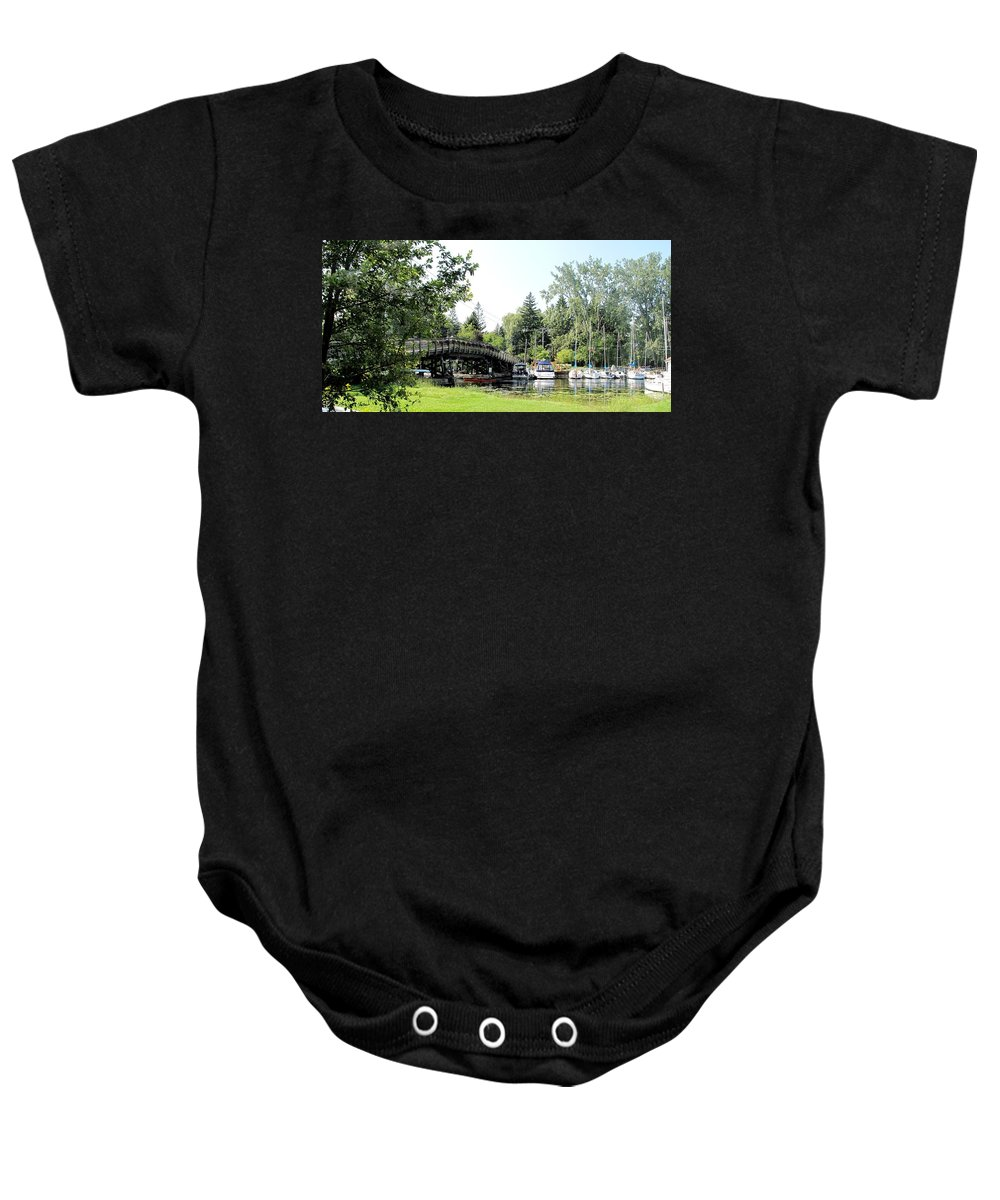 Yahcts Baby Onesie featuring the photograph Bridge To The Club by Ian MacDonald
