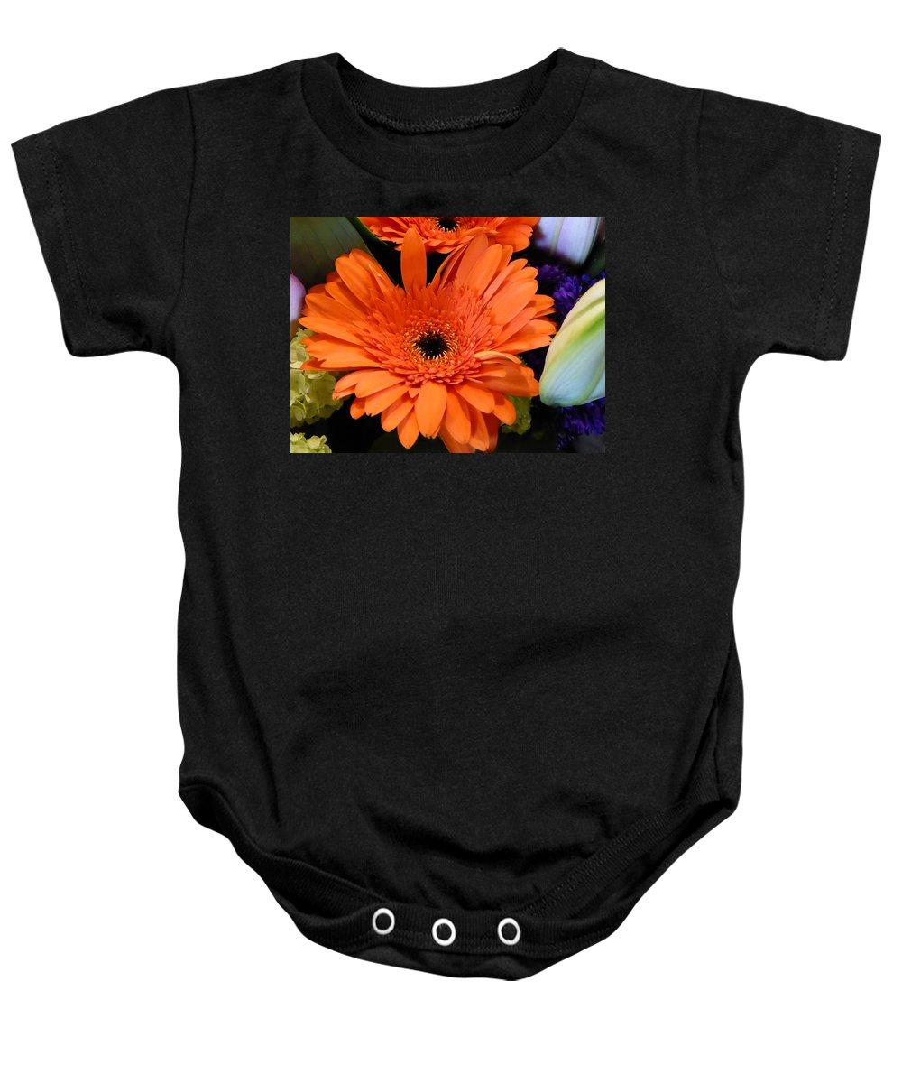 Flower Baby Onesie featuring the photograph Bright Orange Daisy by Shirley Stevenson Wallis