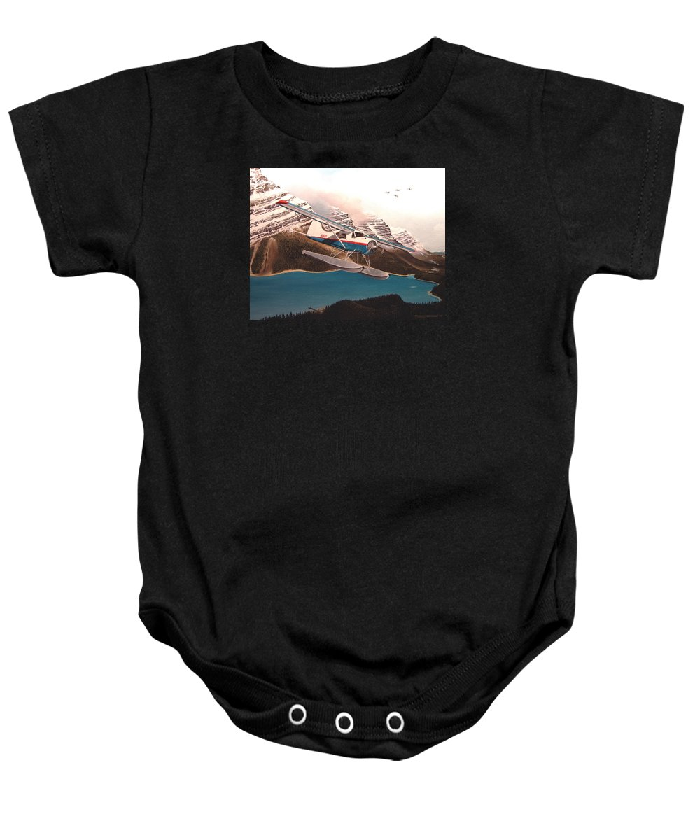Aviation Baby Onesie featuring the painting Bringing Home The Groceries by Marc Stewart