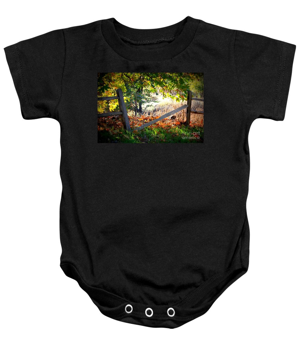 Autumn Baby Onesie featuring the photograph Broken Fence In Sycamore Park by Carol Groenen
