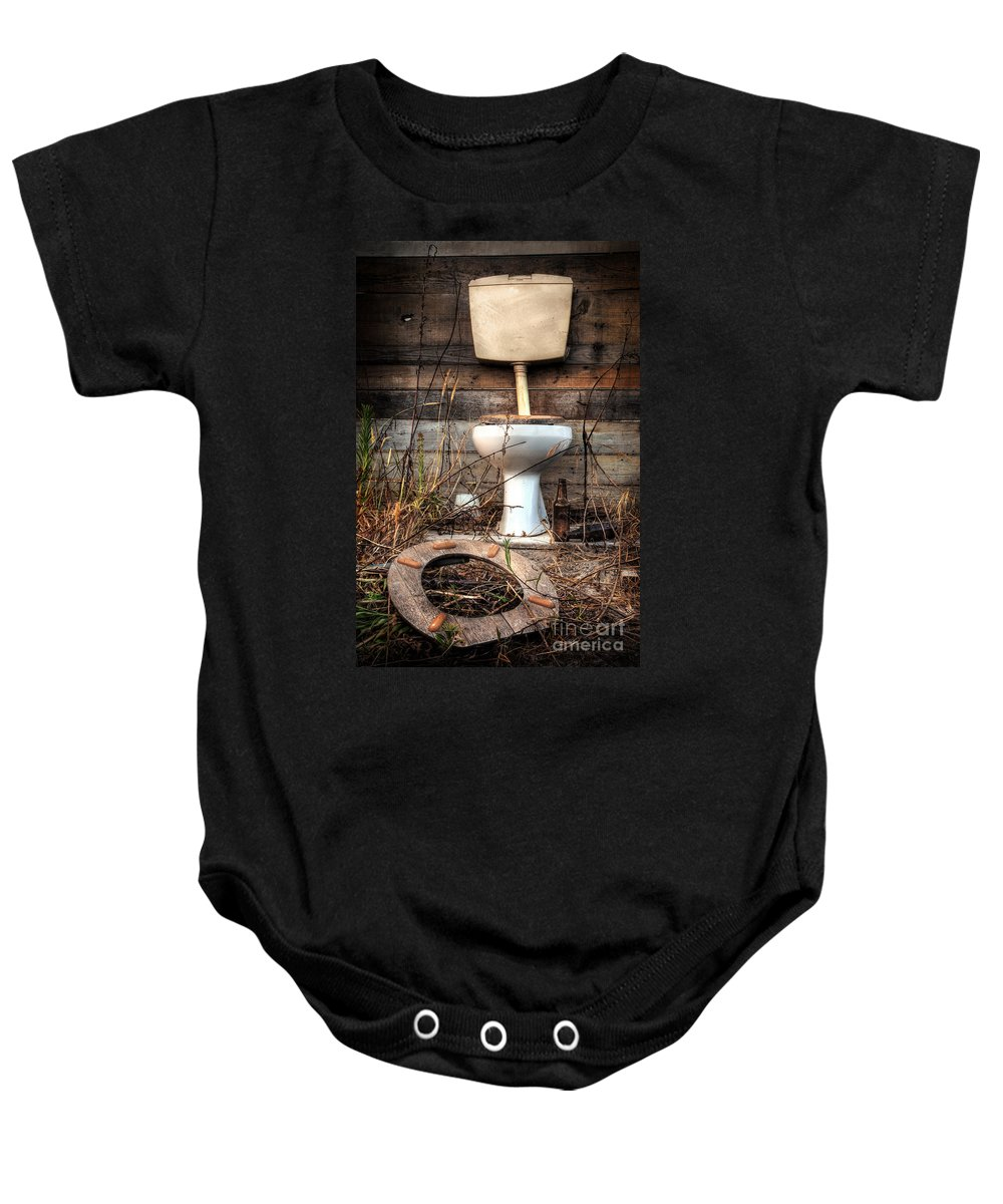 Abandoned Baby Onesie featuring the photograph Broken Toilet by Carlos Caetano