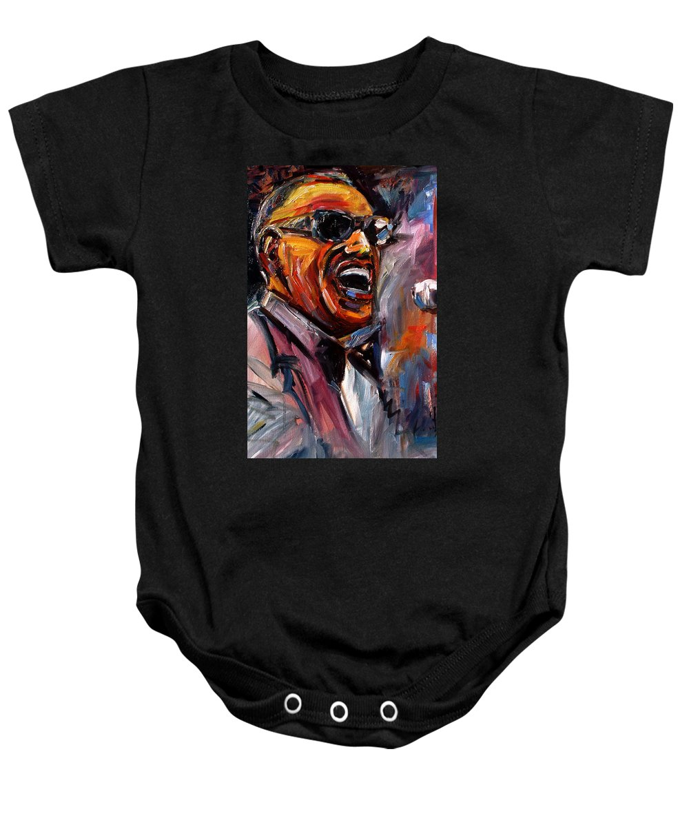 Jazz Art Baby Onesie featuring the painting Brother Ray by Debra Hurd