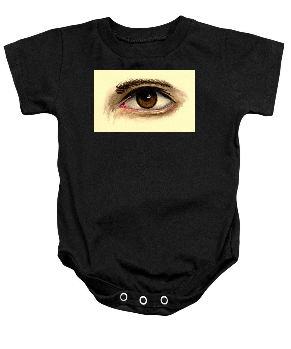 Eye Baby Onesie featuring the painting Brown Eye by Michael Vigliotti