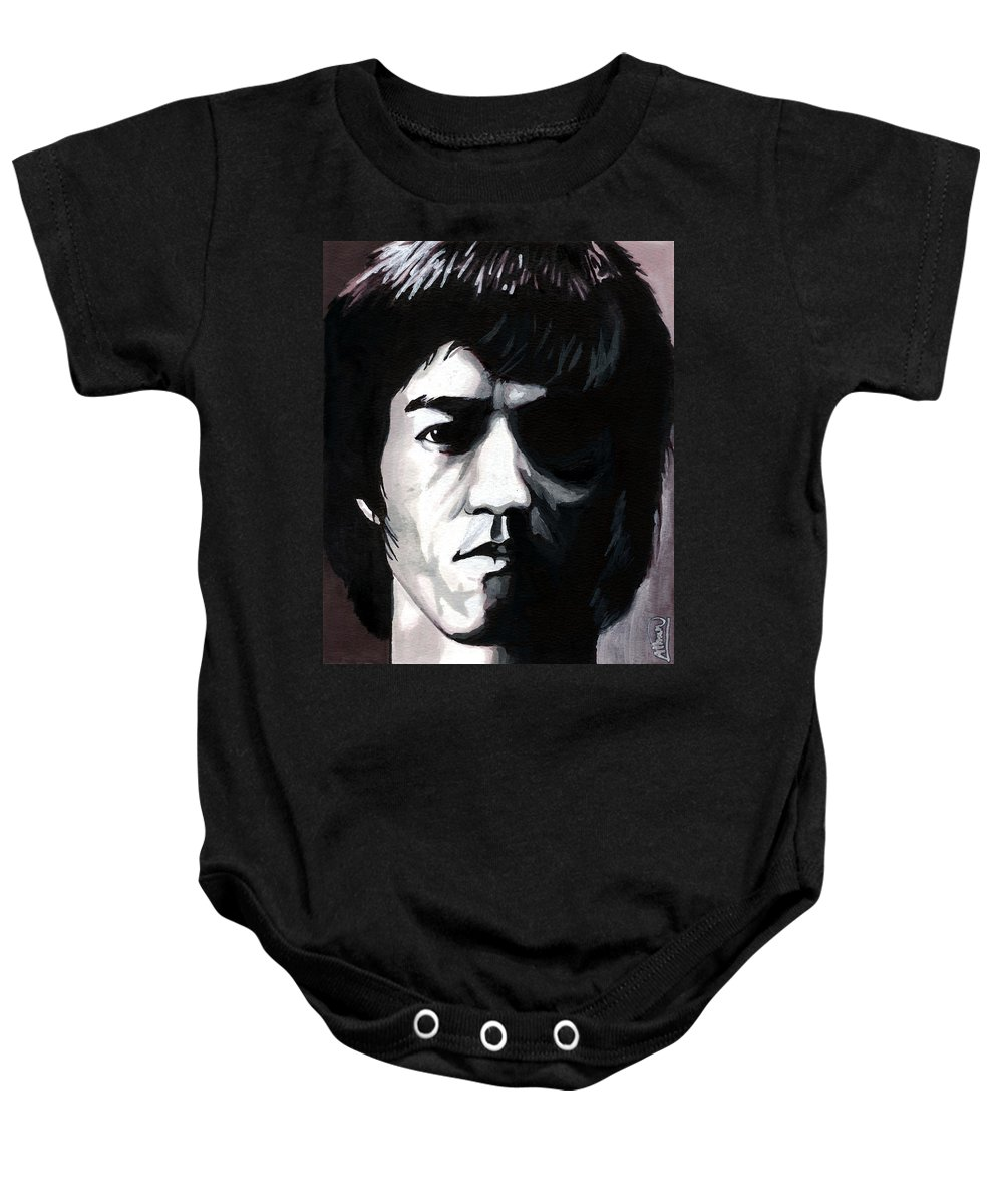 Bruce Lee Baby Onesie featuring the mixed media Bruce Lee Portrait by Alban Dizdari