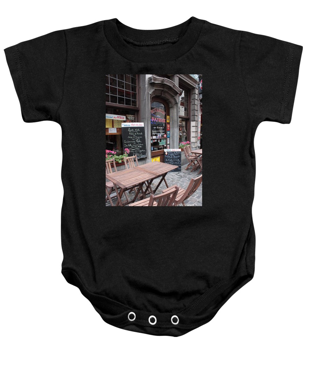 European Cafes Baby Onesie featuring the photograph Brussels - Restaurant Chez Patrick by Carol Groenen