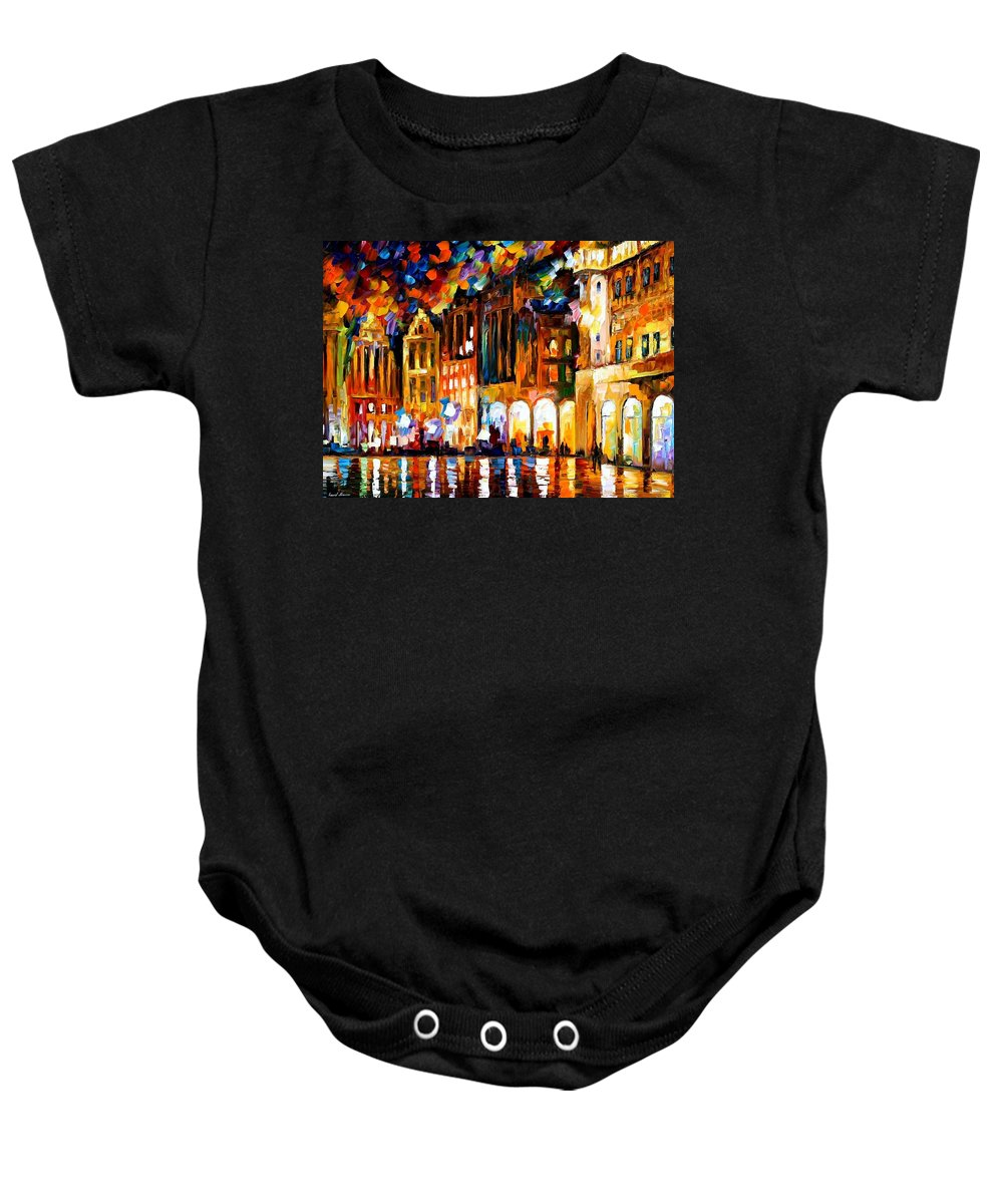 Afremov Baby Onesie featuring the painting Brussels by Leonid Afremov