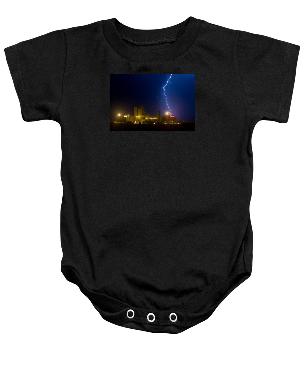 Lightning Baby Onesie featuring the photograph Bud Light Ning by James BO Insogna
