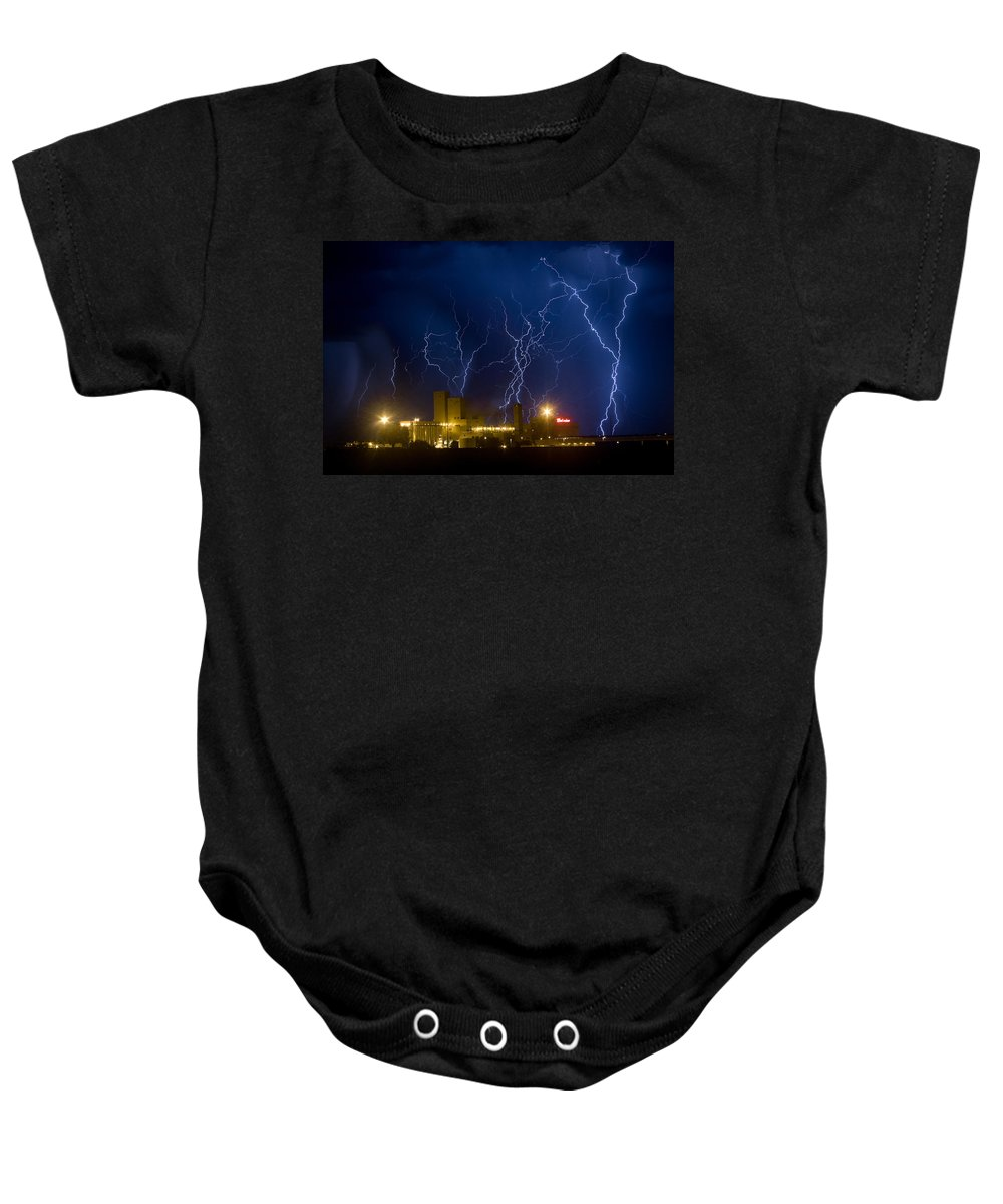 Lightning Baby Onesie featuring the photograph Budweiser Brewery Storm by James BO Insogna