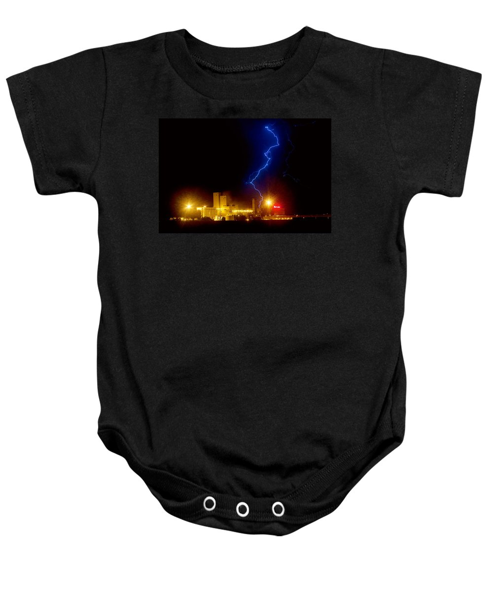Budweiser Baby Onesie featuring the photograph Budweiser Lightning Strike by James BO Insogna