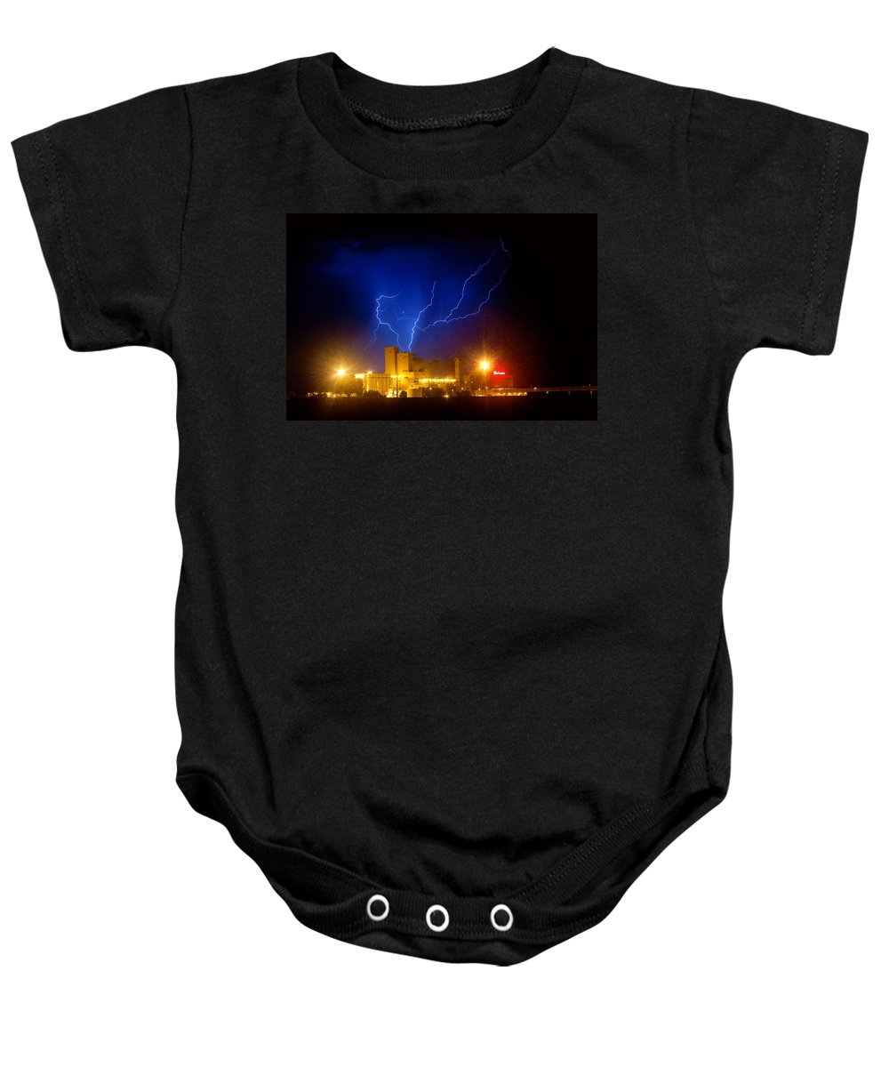 Anheuser-busch Baby Onesie featuring the photograph Budweiser Powered By Lightning by James BO Insogna