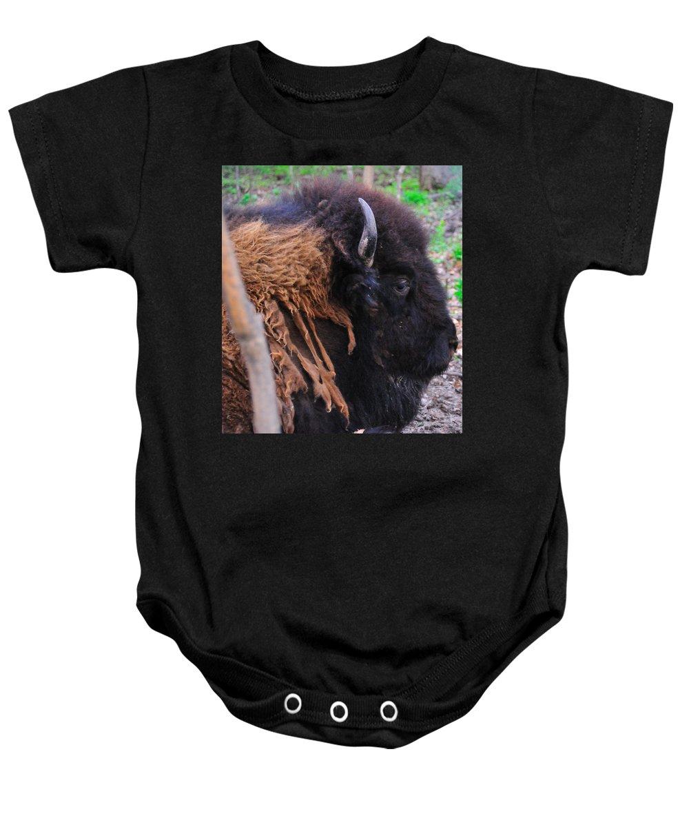 Buffalo Baby Onesie featuring the photograph Buffalo Head by David Arment