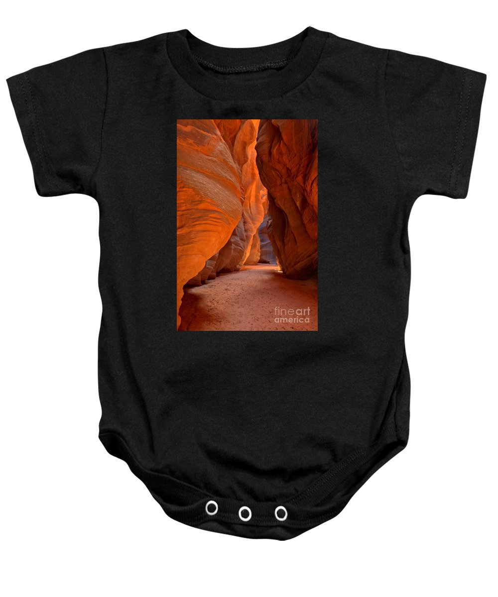 Slot Canyon Baby Onesie featuring the photograph Bulging Buckskin Walls by Adam Jewell