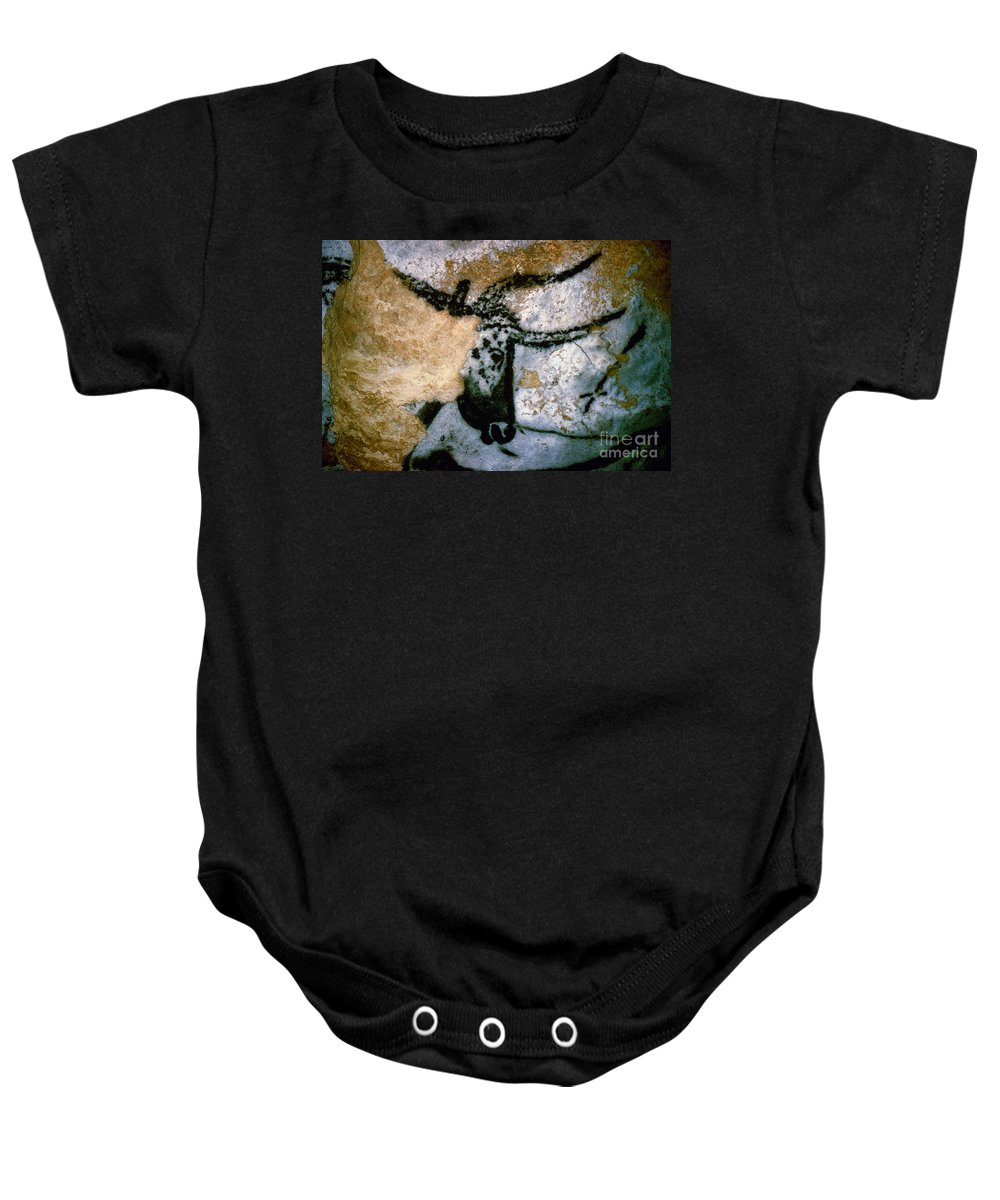 Bull Baby Onesie featuring the photograph Bull: Lascaux, France by Granger
