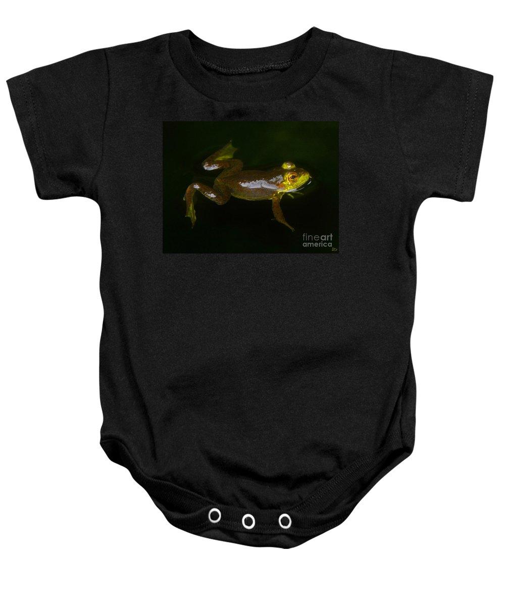 Bullfrog Baby Onesie featuring the painting Bullfrog by David Lee Thompson