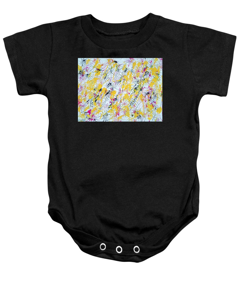 Keith Elliott Baby Onesie featuring the painting Bumble Bees Against The Windshield - V1vc100 by Keith Elliott