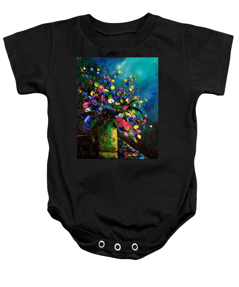 Poppies Baby Onesie featuring the painting Bunch 45 by Pol Ledent