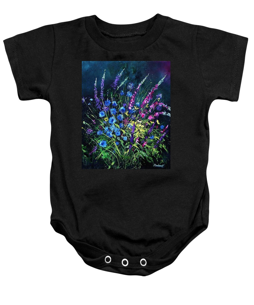 Poppies Baby Onesie featuring the painting Bunch Of Wild Flowers by Pol Ledent