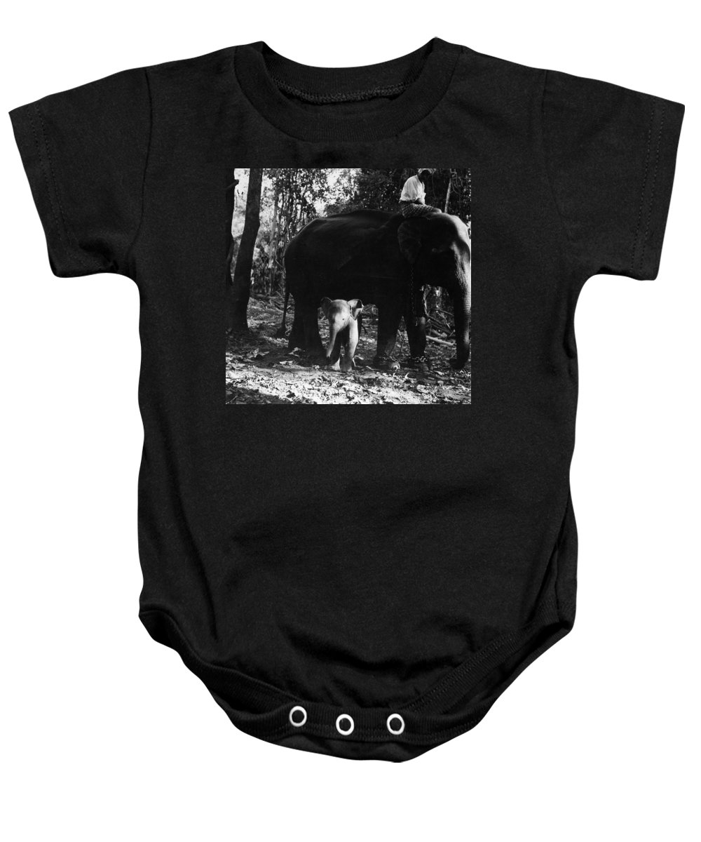 1960 Baby Onesie featuring the photograph Burma: Elephants, 1960 by Granger