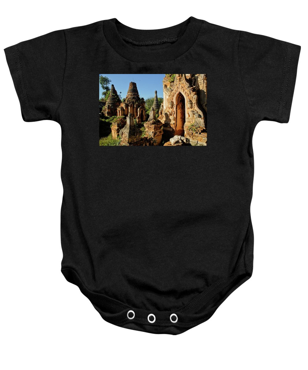 Asia Baby Onesie featuring the photograph Burmese Pagodas In Ruins by Michele Burgess