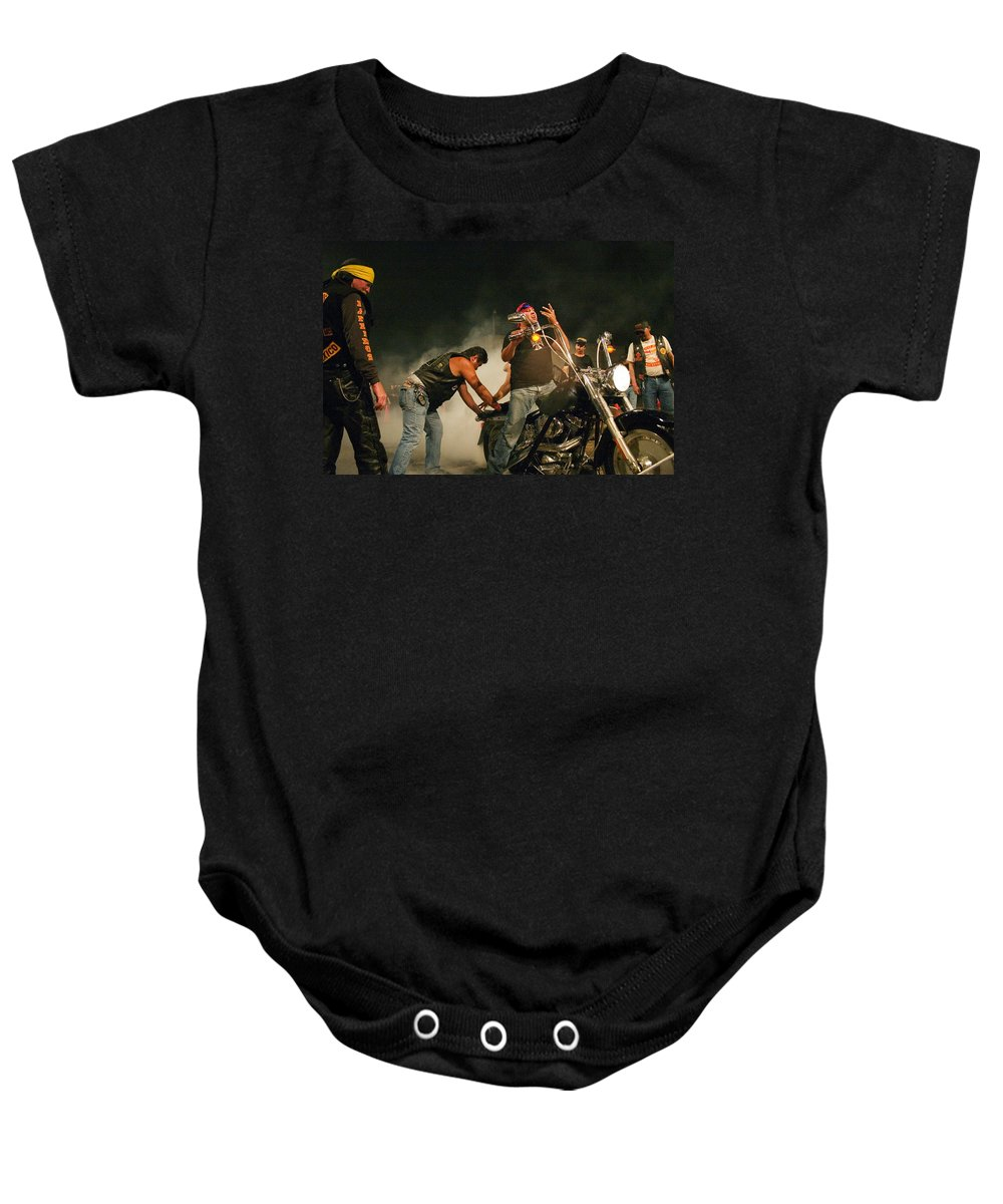 Biker Baby Onesie featuring the photograph Burn Out by Skip Hunt