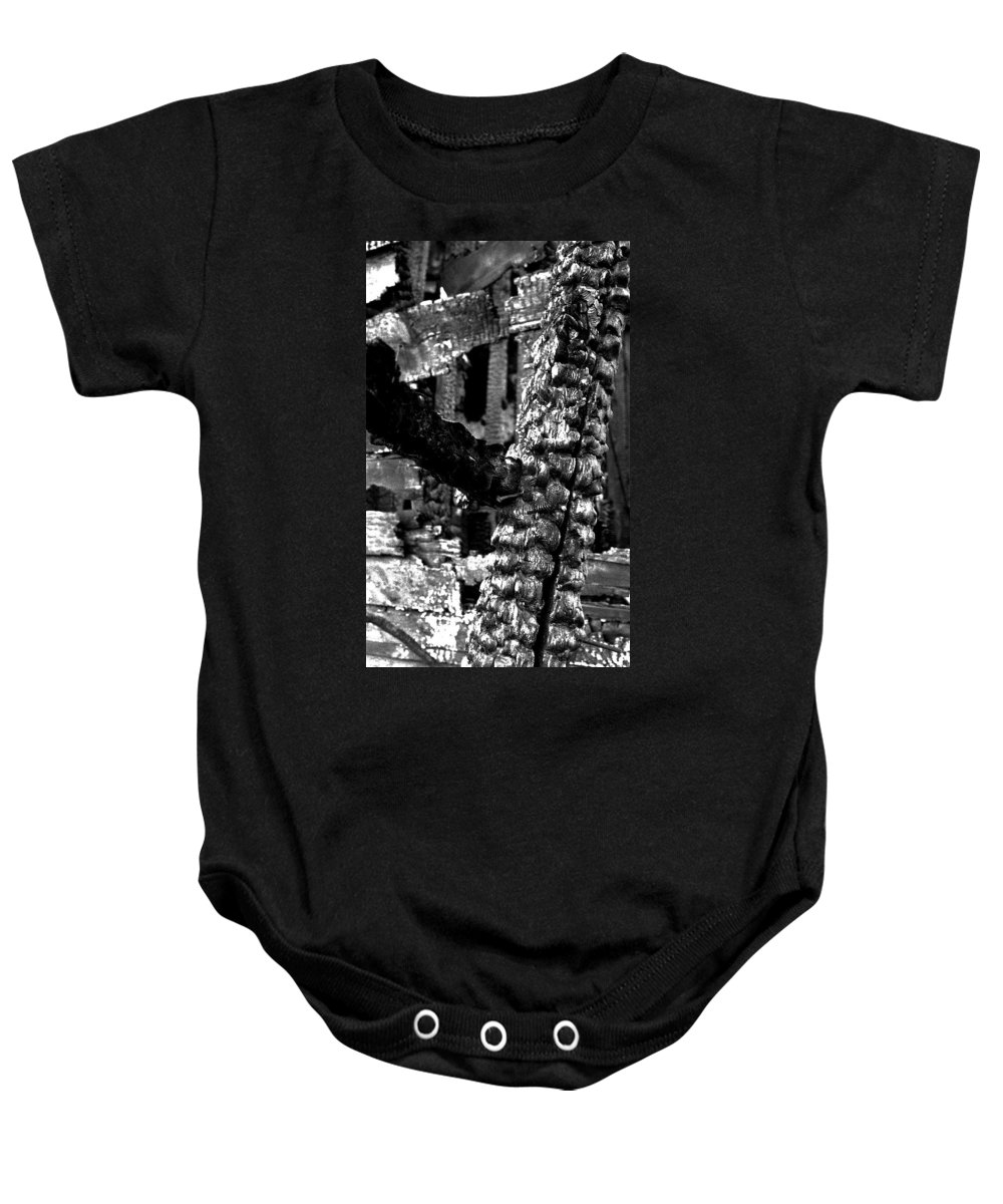 Detroit Baby Onesie featuring the photograph Burned House Detail by Steven Dunn