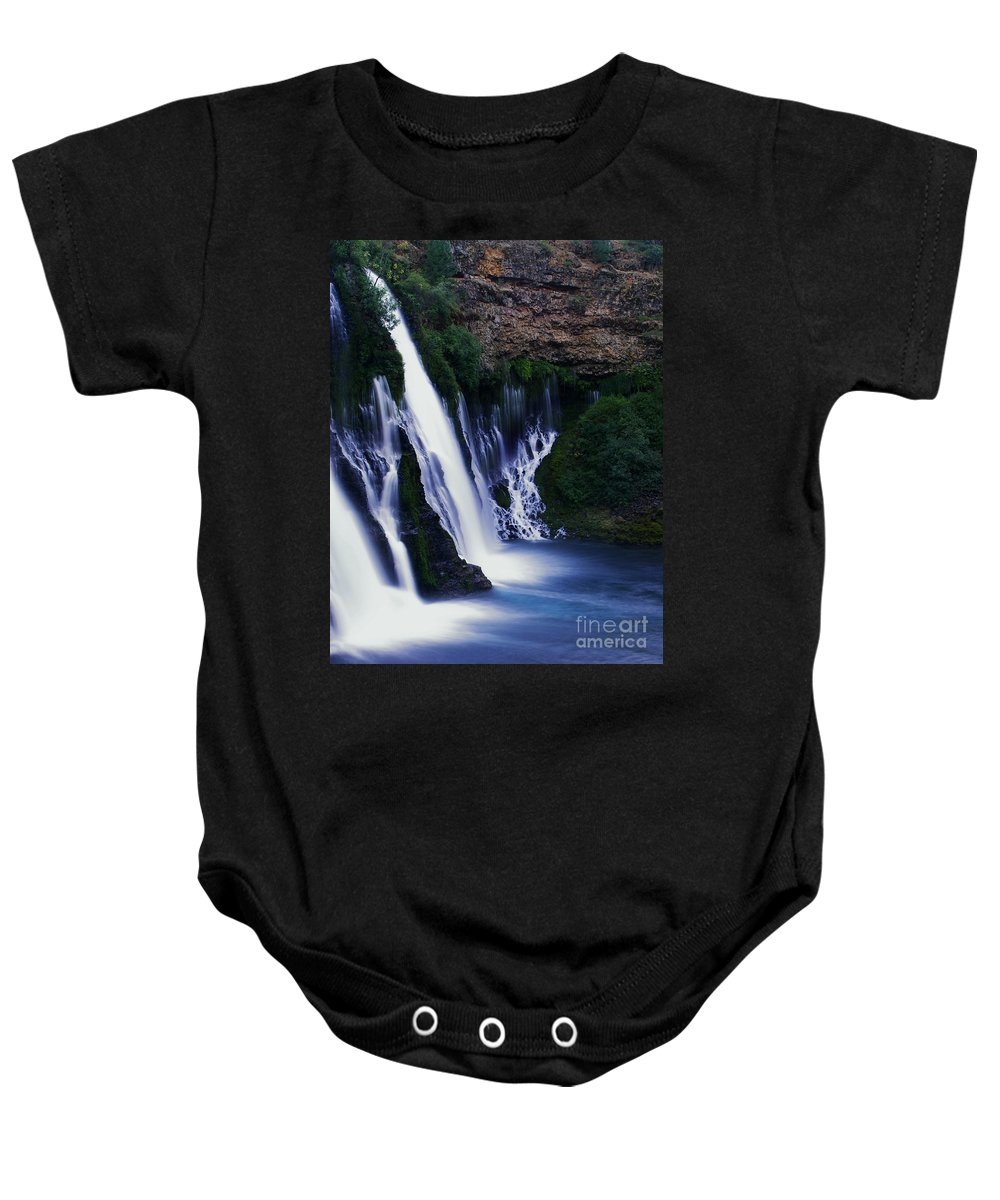 River Baby Onesie featuring the photograph Burney Blues by Peter Piatt
