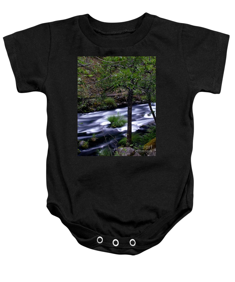 River Baby Onesie featuring the photograph Burney Creek by Peter Piatt