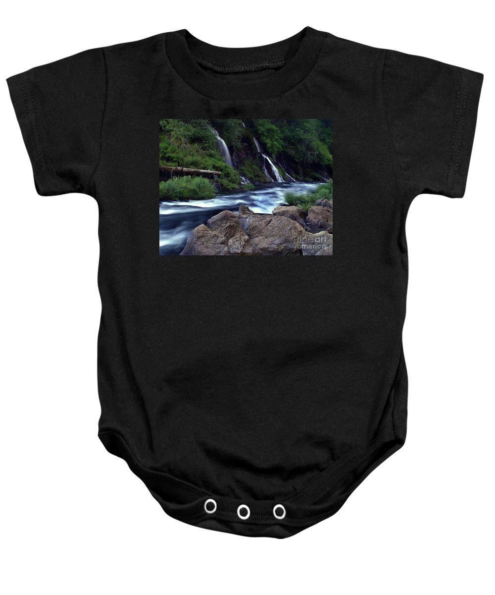 River Baby Onesie featuring the photograph Burney Falls Creek by Peter Piatt