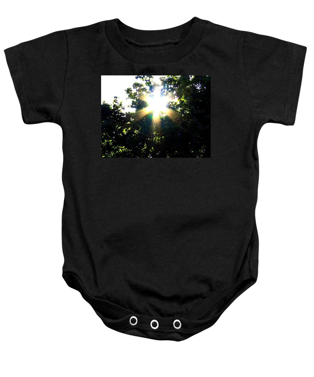 Sunburst Baby Onesie featuring the photograph Burst Of Sunlight by Will Borden