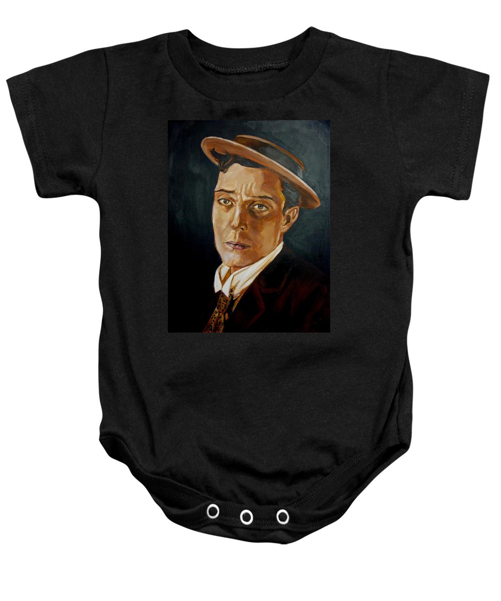 Comedy Baby Onesie featuring the painting Buster Keaton Tribute by Bryan Bustard