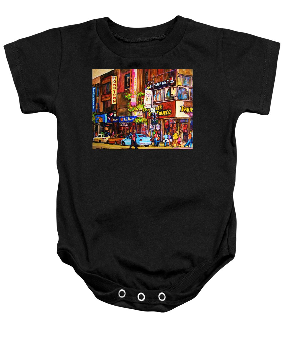 Cityscape Baby Onesie featuring the painting Busy Downtown Street by Carole Spandau