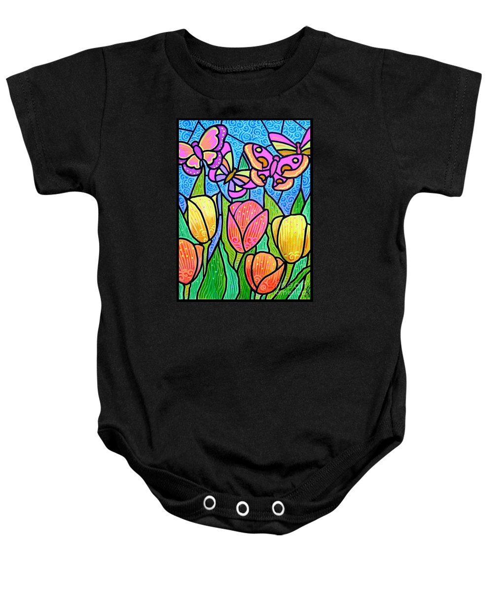 Butterflies Baby Onesie featuring the painting Butterflies In The Tulip Garden by Jim Harris